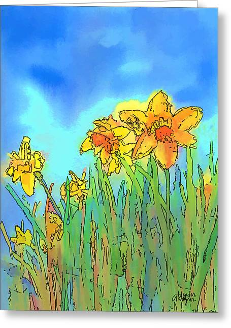 Blooms Greeting Cards - Yellow Daffodils Greeting Card by Arline Wagner