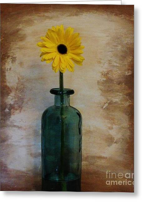 Brown Tones Greeting Cards - Yellow Daisy in a Bottle Greeting Card by Marsha Heiken