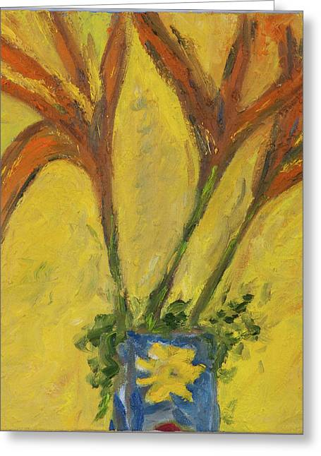 Van Gogh Style Greeting Cards - Yellow Days Greeting Card by Dan Castle
