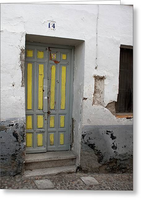 Southern Province Greeting Cards - Yellow Door at Number 14 Greeting Card by Lorraine Devon Wilke