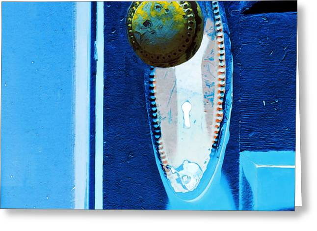 Yellow Door Knob Greeting Card by Marion McCristall