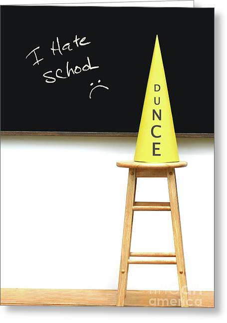 Blackboard Greeting Cards - Yellow dunce hat on stool Greeting Card by Sandra Cunningham