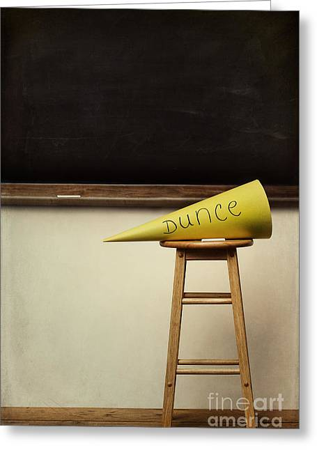 Ashamed Greeting Cards - Yellow dunce hat on stool with chalkboard Greeting Card by Sandra Cunningham