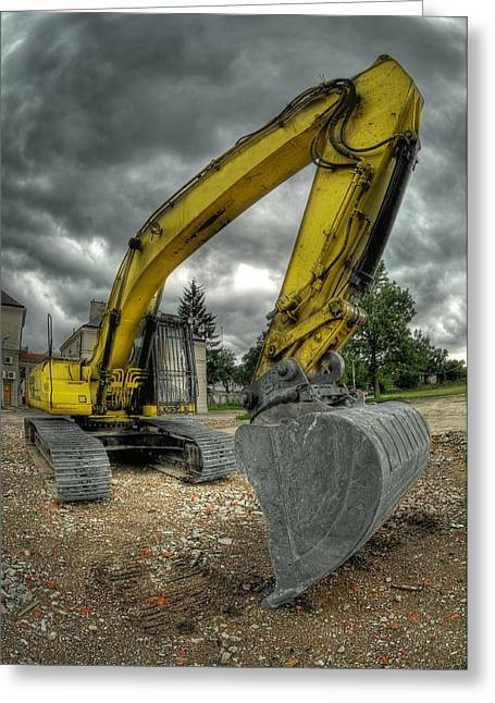 Development Greeting Cards - Yellow excavator Greeting Card by Jaroslaw Grudzinski