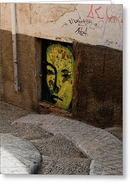 Southern Province Greeting Cards - Yellow Face Graffiti Greeting Card by Lorraine Devon Wilke