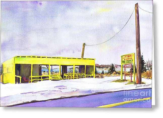 North Fork Greeting Cards - Yellow Farm Stand Winter Orient Harbor NY Greeting Card by Susan Herbst