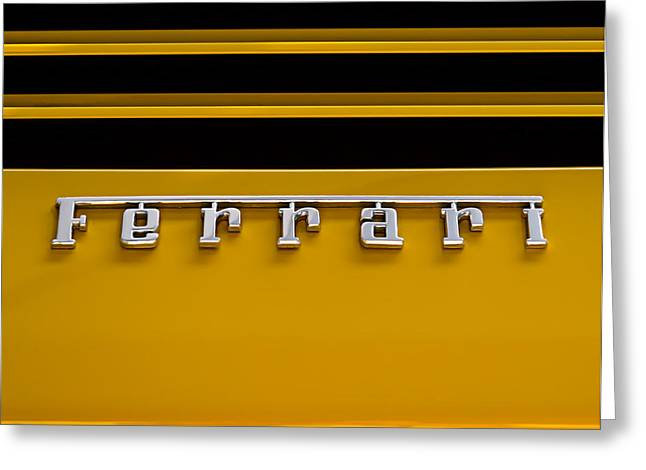 Exotic Greeting Cards - Yellow Ferrari Brightwork Greeting Card by Douglas Pittman