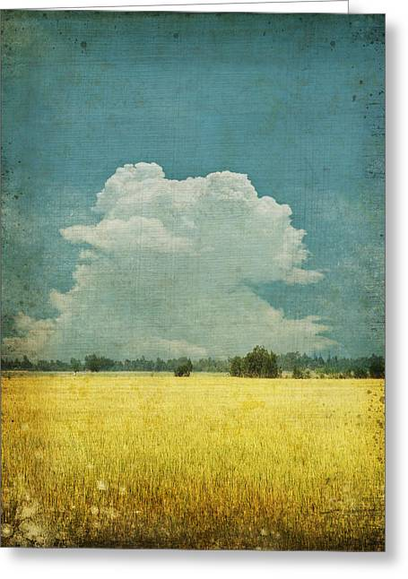 Field. Cloud Digital Art Greeting Cards - Yellow field on old grunge paper Greeting Card by Setsiri Silapasuwanchai