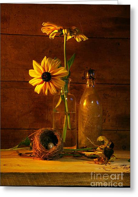 Bird Bottle Greeting Cards - Yellow flower still life Greeting Card by Sandra Cunningham