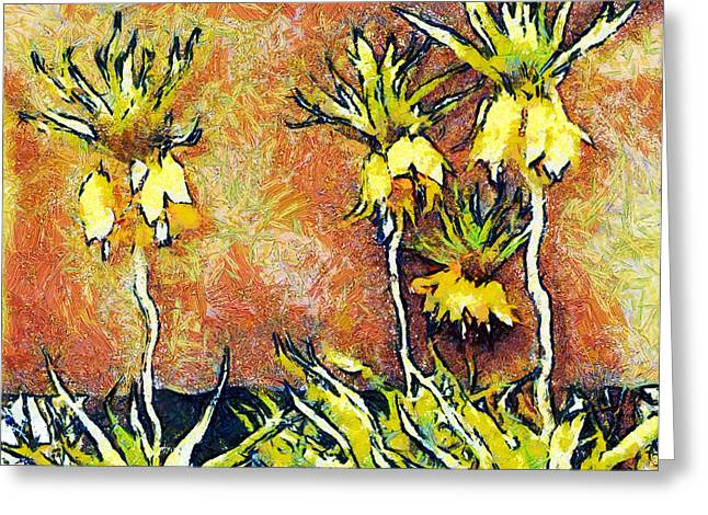 Gold Lame Greeting Cards - Yellow flowers Greeting Card by Odon Czintos