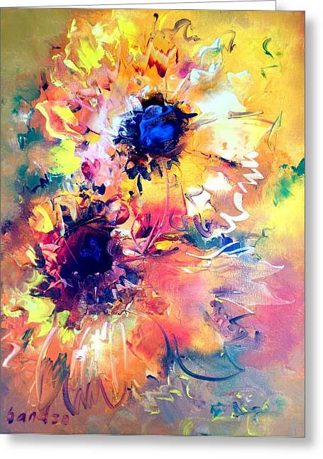 Print On Acrylic Greeting Cards - Yellow flowers Greeting Card by Sandro  Akhvlediani