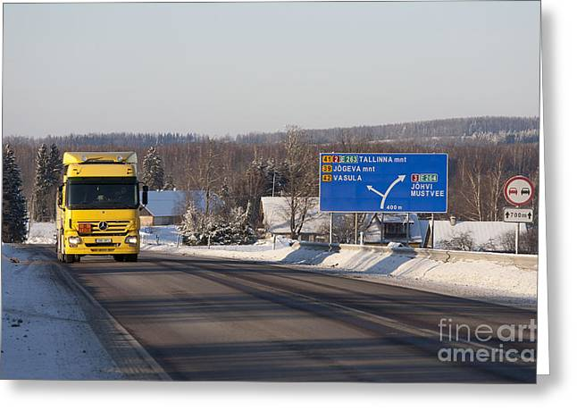 Snow Covered Street Greeting Cards - Yellow Fuel Tanker Truck Greeting Card by Jaak Nilson