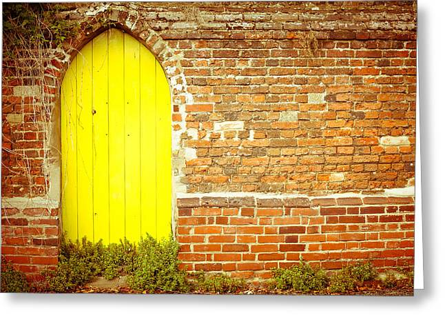 Historic Home Greeting Cards - Yellow gateway Greeting Card by Tom Gowanlock