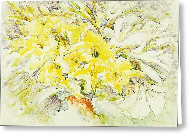 Gladiolas Paintings Greeting Cards - Yellow gladiolas Greeting Card by Edi Holley