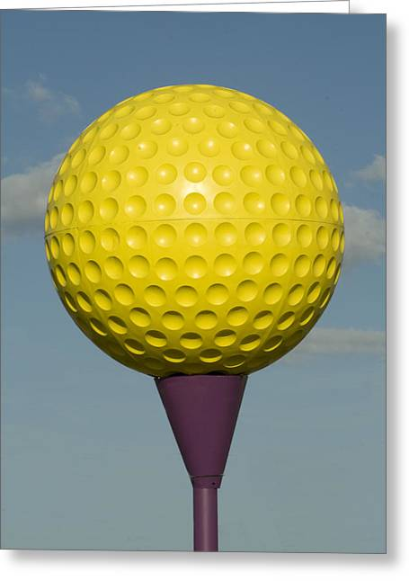 Yellows Glass Art Greeting Cards - Yellow Golf Ball Greeting Card by Carl Purcell