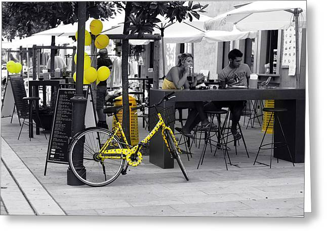 Streetphotography Greeting Cards - Yellow Greeting Card by Graham Hawcroft pixsellpix