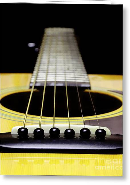 Design And Photography. Greeting Cards - Yellow Guitar 17 Greeting Card by Andee Design