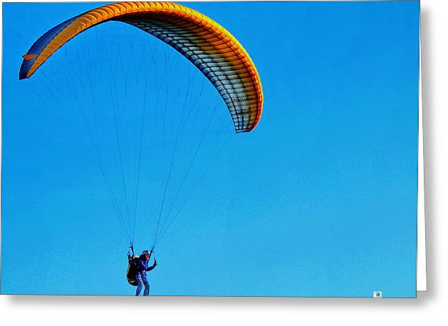 Yellow Hang Glider Greeting Card by Russ Harris