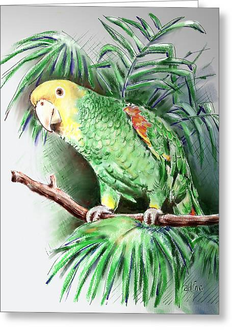 Amazon Parrot Greeting Cards - Yellow-headed Amazon Parrot Greeting Card by Arline Wagner