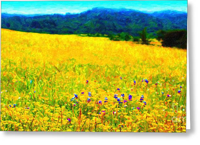 Marin County Digital Art Greeting Cards - Yellow Hills . Long Cut Greeting Card by Wingsdomain Art and Photography
