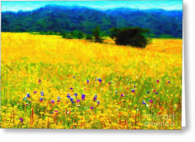 Impressionist Greeting Cards - Yellow Hills Greeting Card by Wingsdomain Art and Photography