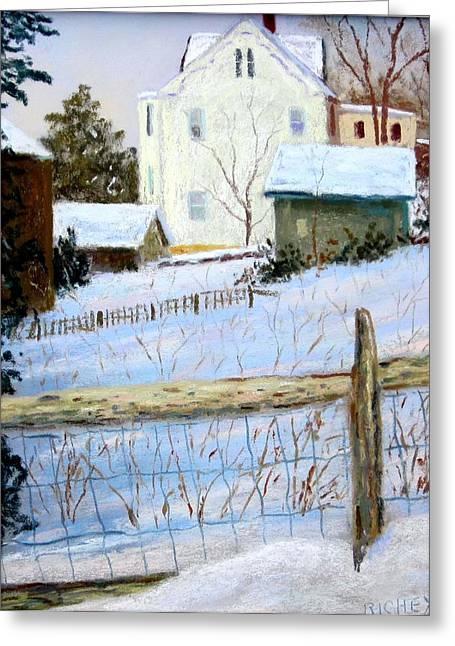 Stockton Pastels Greeting Cards - Yellow House in Winter Greeting Card by Bob Richey