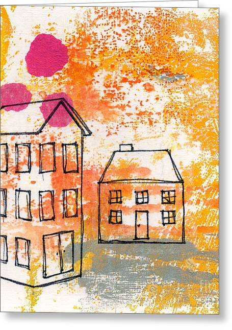 Monoprint Greeting Cards - Yellow House Greeting Card by Linda Woods
