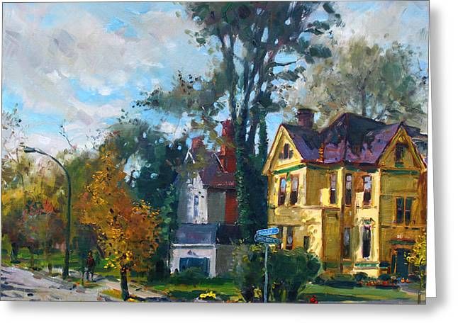 Oakland Paintings Greeting Cards - Yellow House Greeting Card by Ylli Haruni