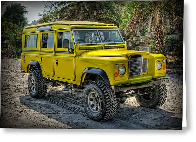 Yellow Door Greeting Cards - Yellow Jeep Greeting Card by Adrian Evans