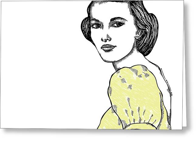 Women Dressed Drawings Greeting Cards - Yellow Lady Greeting Card by Karl Addison