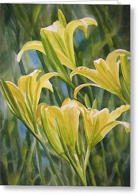 Yellow Lilies Greeting Card by Sharon Freeman