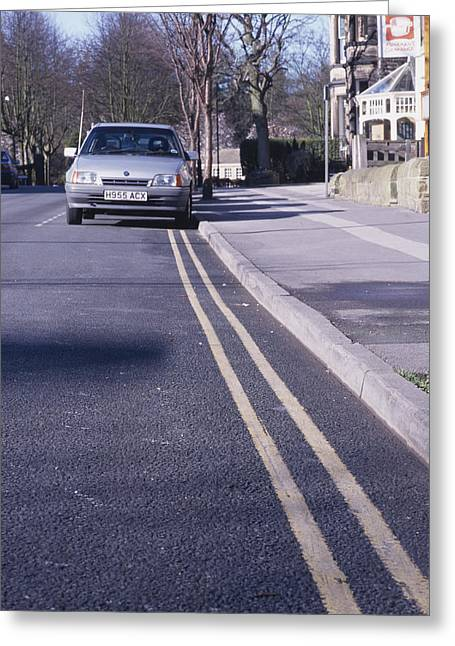 Kerb Greeting Cards - Yellow Lines On Road Greeting Card by Andrew Lambert Photography
