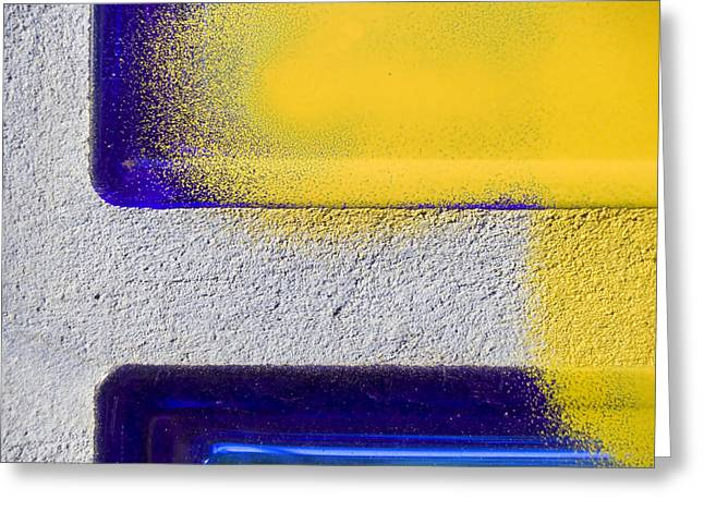 Glass Wall Greeting Cards - Yellow Greeting Card by Marc Huebner