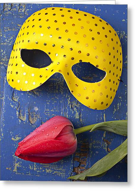 Disguise Greeting Cards - Yellow mask and red tulip Greeting Card by Garry Gay