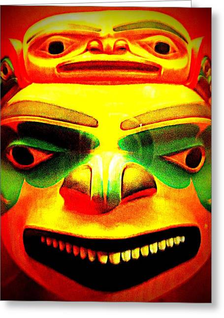 Woodcarving Greeting Cards - Yellow Mask Greeting Card by Randall Weidner