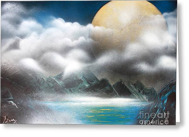 Outer Space Paintings Greeting Cards - Yellow Moon Greeting Card by Greg Moores
