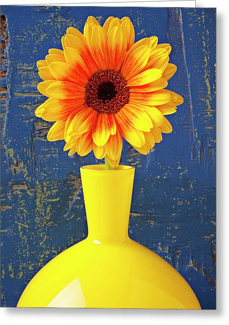 Mum Greeting Cards - Yellow mum in yellow vase Greeting Card by Garry Gay