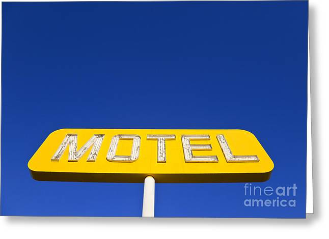 Advertise Greeting Cards - Yellow Neon Motel Sign Greeting Card by David Buffington