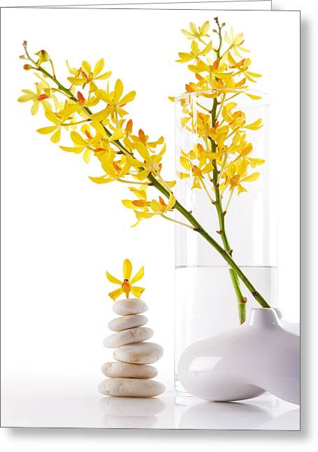 Healthy-lifestyle Greeting Cards - Yellow Orchid Bunchs Greeting Card by Atiketta Sangasaeng