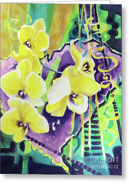 Floral Still Life Greeting Cards - Yellow Orchids of the Heart Greeting Card by Kathy Braud