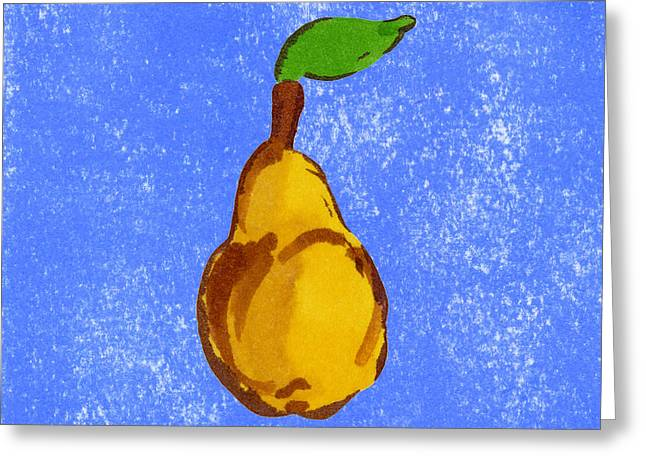 Pear Art Drawings Greeting Cards - Yellow Pear on Blue Greeting Card by Marla Saville