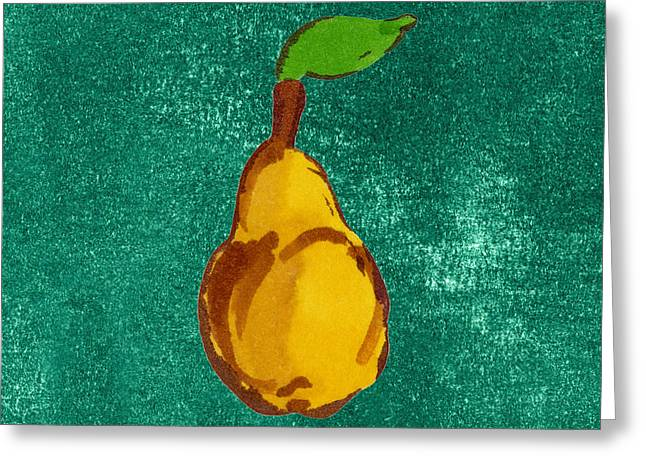 Pear Art Drawings Greeting Cards - Yellow Pear on Green Greeting Card by Marla Saville