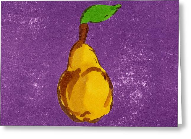 Pear Art Drawings Greeting Cards - Yellow Pear on Purple Greeting Card by Marla Saville