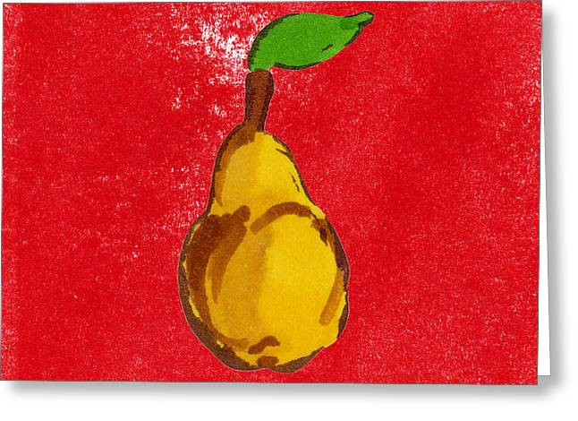 Pear Art Drawings Greeting Cards - Yellow Pear on Red Greeting Card by Marla Saville