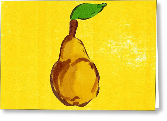 Pear Art Drawings Greeting Cards - Yellow Pear on Yellow Greeting Card by Marla Saville