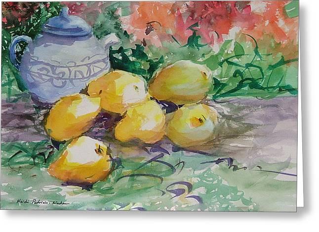 Heidi Patricio-nadon Greeting Cards - Yellow Pears Greeting Card by Heidi Patricio-Nadon