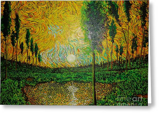 Illuminism Greeting Cards - Yellow Pond Greeting Card by Stefan Duncan