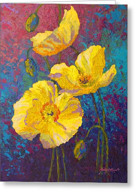 Fall Vineyard Greeting Cards - Yellow Poppies Greeting Card by Marion Rose