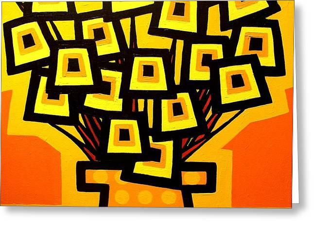 Flower Still Life Prints Greeting Cards - Yellow Poppy Vase Greeting Card by John  Nolan