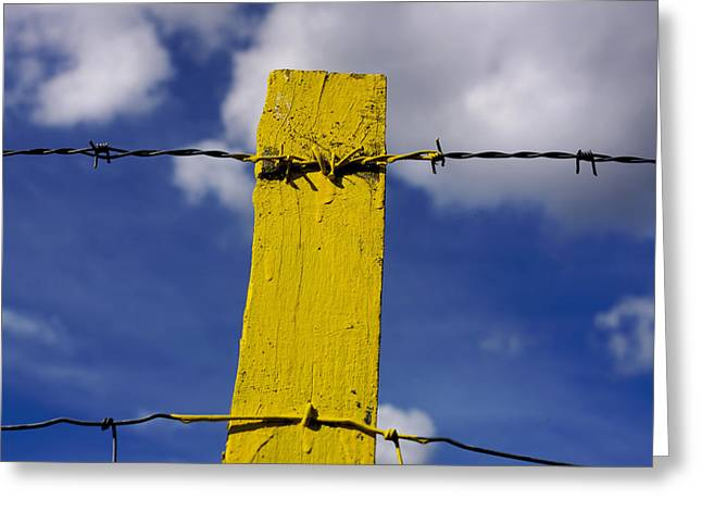 Enclosed Greeting Cards - Yellow post Greeting Card by Bernard Jaubert